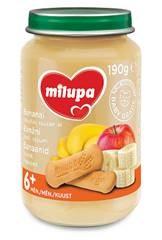 Bananų ir obuolių tyrelė MILUPA su sausainiais (nuo 6 mėn.), 190 g