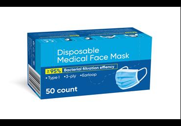 Vienkartinės medicininės veido kaukės, 50 vnt., 50 vnt.