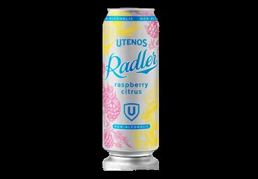 UTENOS nealkoholinis alaus kokteilis RADLER citrinų ir aviečių sk. (0,5%), 500 ml